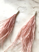Ostrich Feathers & Sterling silver Hoops