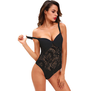 Hot Sexy Women Semi-sheer Mesh Lace Bodysuit  Lingerie Sleepwear Nightwear