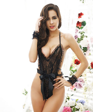 Woman Pajamas Sexy Lingerie Deep V Lace Style Babydoll Skirt