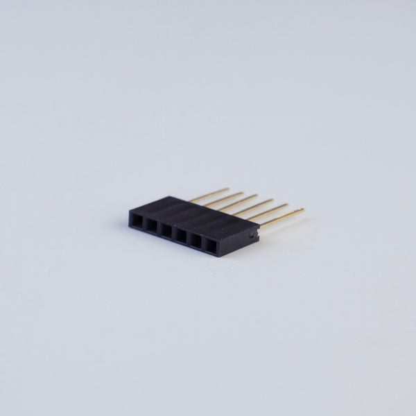Pin header 2.54mm 1x06 female straight, 10pc pack
