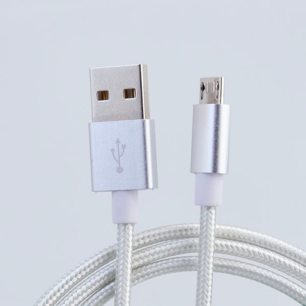 microUSB B - USB A cable, 3m, nylon braided SILVER