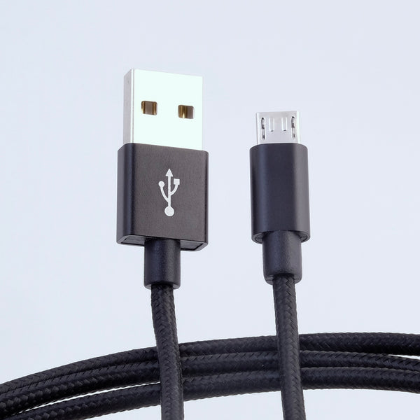 microUSB B - USB A cable, 3m, nylon braided BLACK