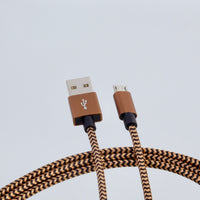 microUSB B - USB A cable, 3m, nylon braided BROWN/YELLOW