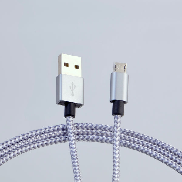 microUSB B - USB A cable, 3m, nylon braided WHITE/GRAY