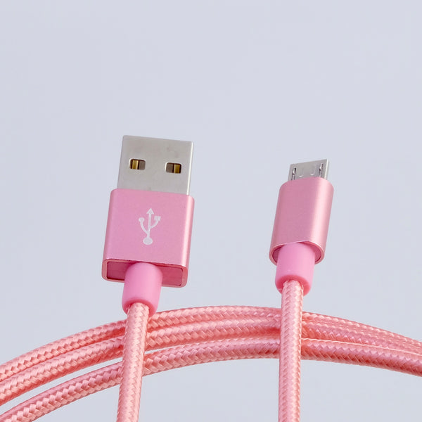 microUSB B - USB A cable, 3m, nylon braided PINK