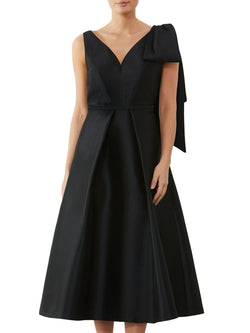 Black Twill Bow Dress