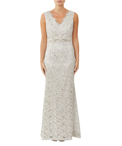 Champagne Sequin Lace Gown