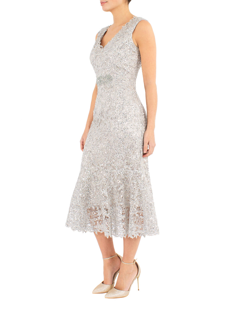 Champagne Sequin Lace Dress