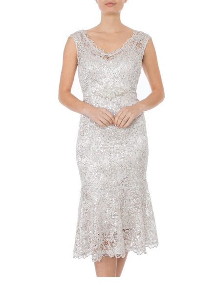 Champagne Midi Lace Dress