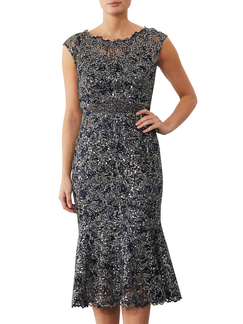 Midnight Sequin Lace Dress