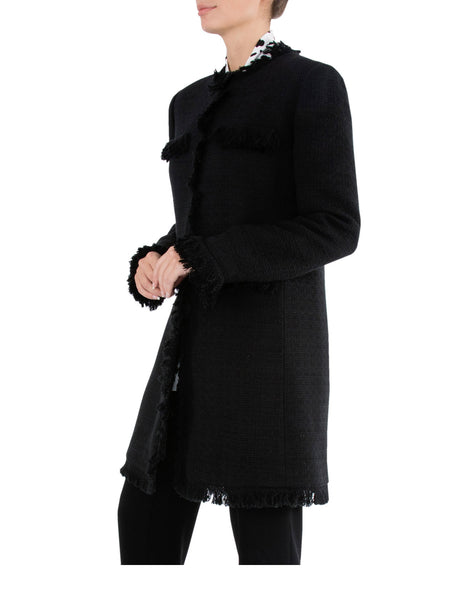 Black Fringe Tweed Coat - TAKE 30% OFF