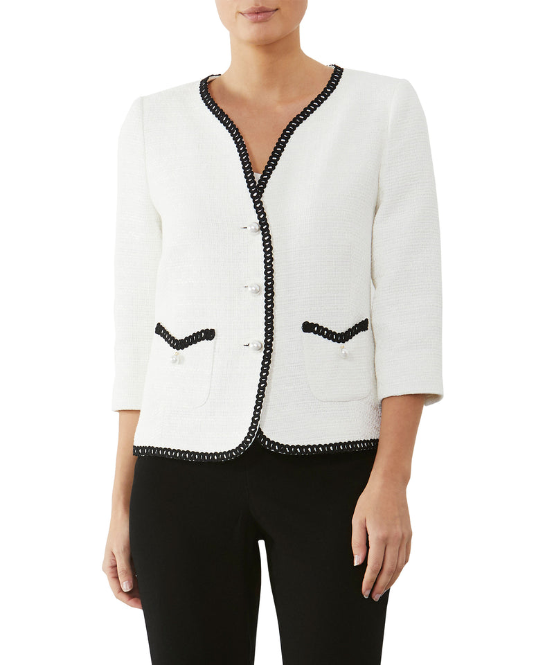 Ivory Tweed Pearl Button Jacket