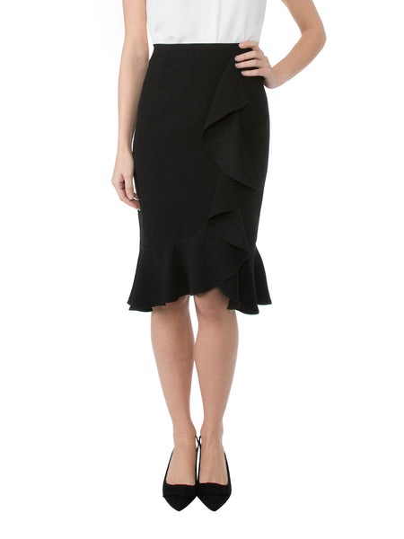 Black Ruffle Front Skirt