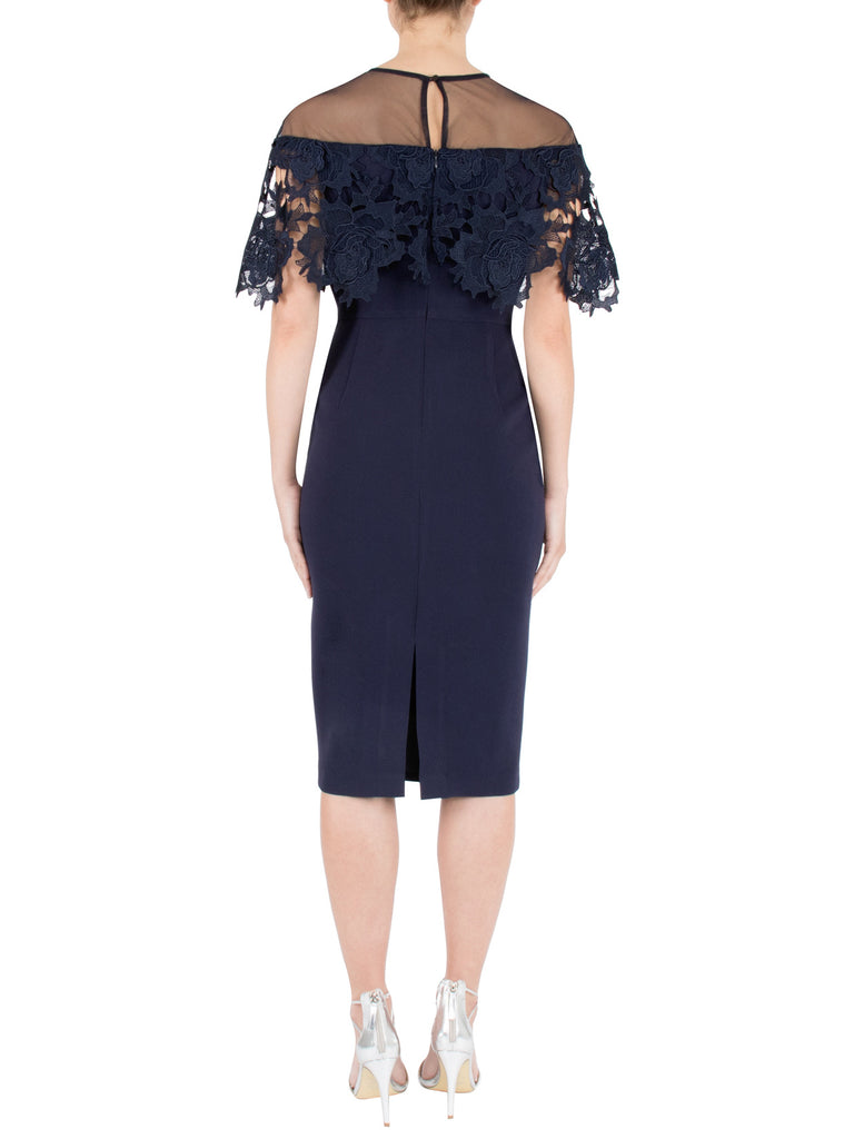 Navy Crepe & Lace Dress