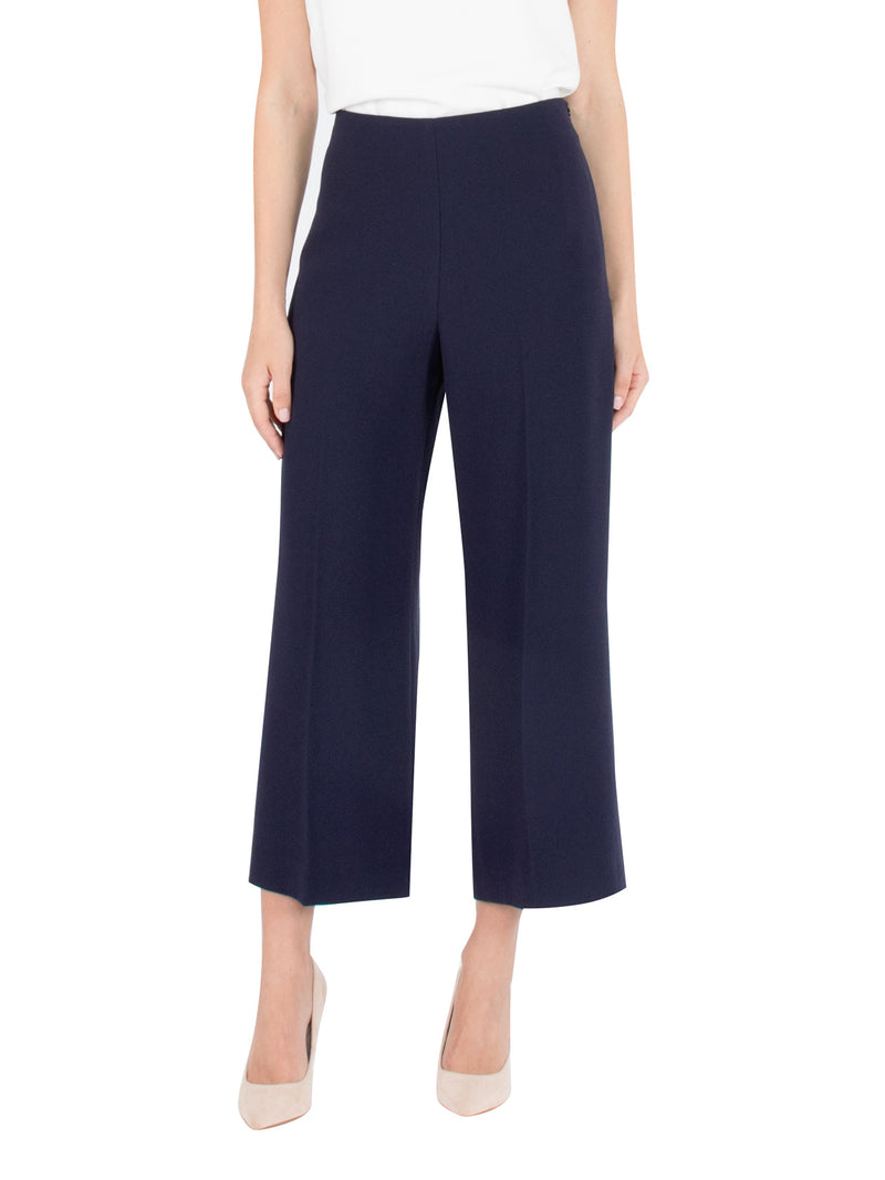 Navy Wide Leg Cropped Pant