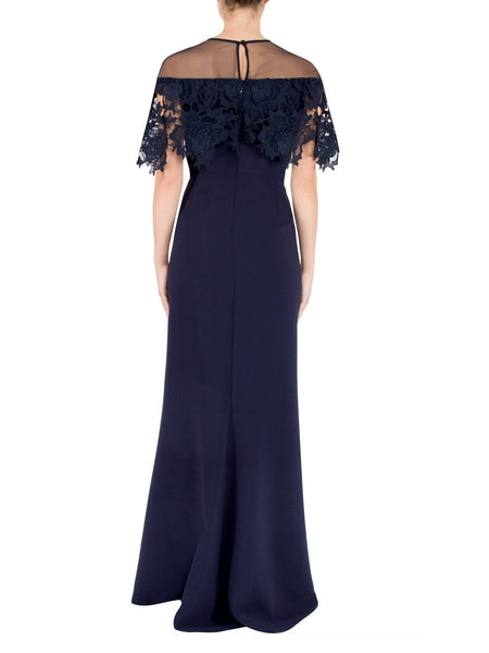 Navy Crepe & Lace Gown