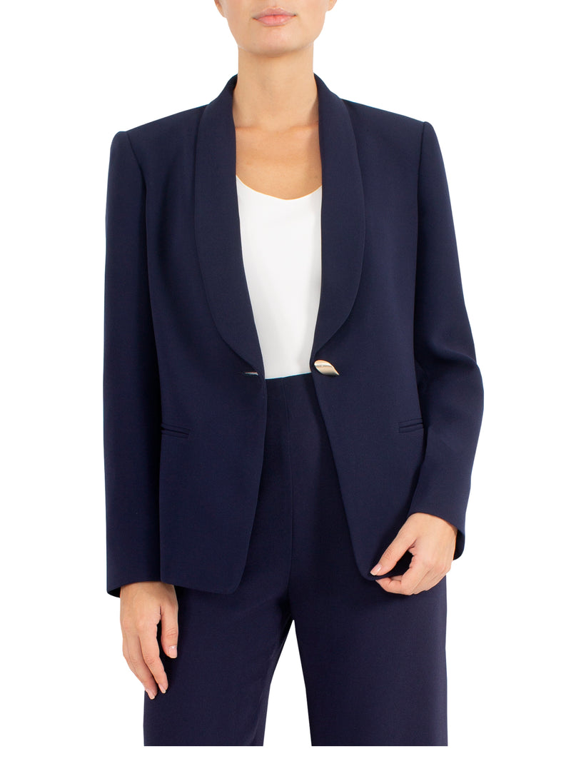 Navy Crepe Jacket