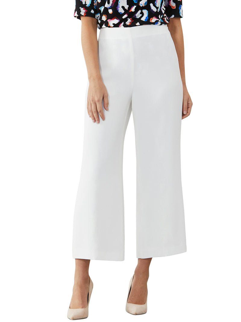 Ivory Wide Leg Cropped Pant