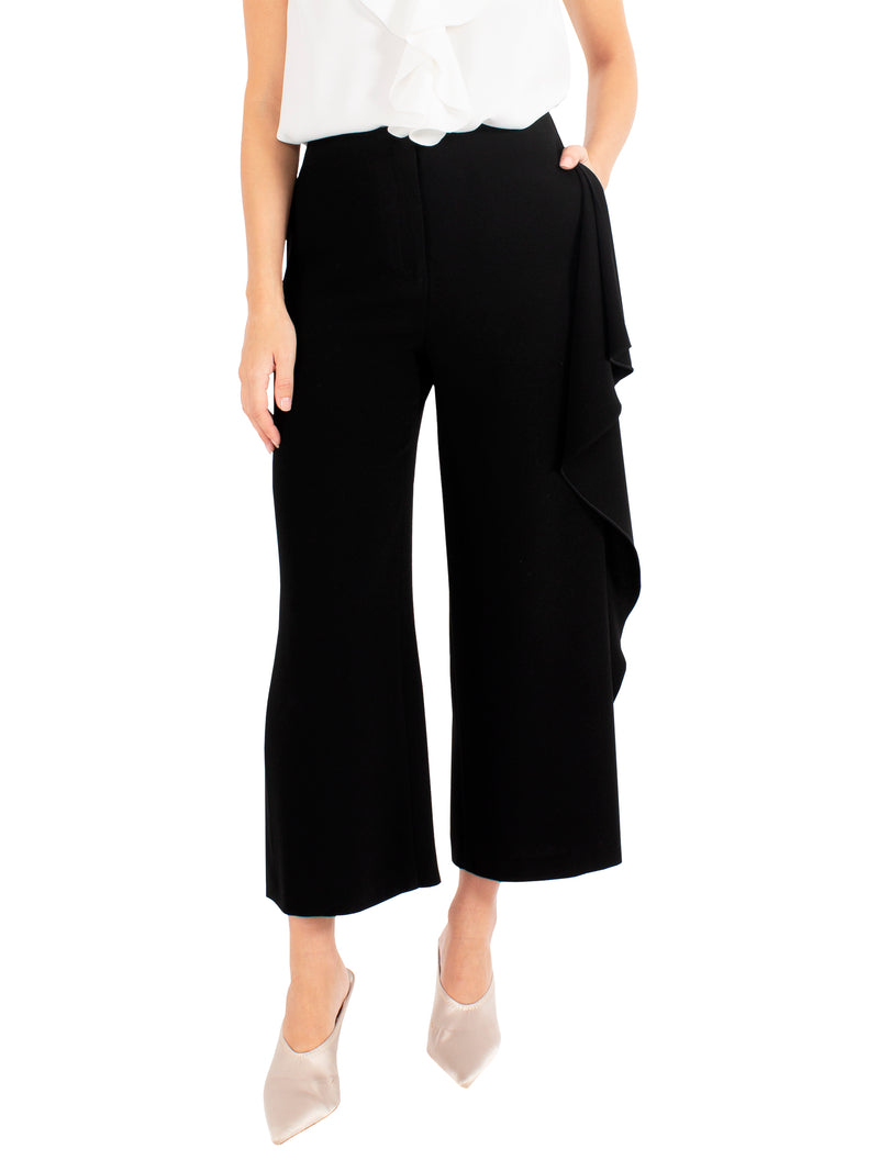 Black Wide Leg Cascade Pant