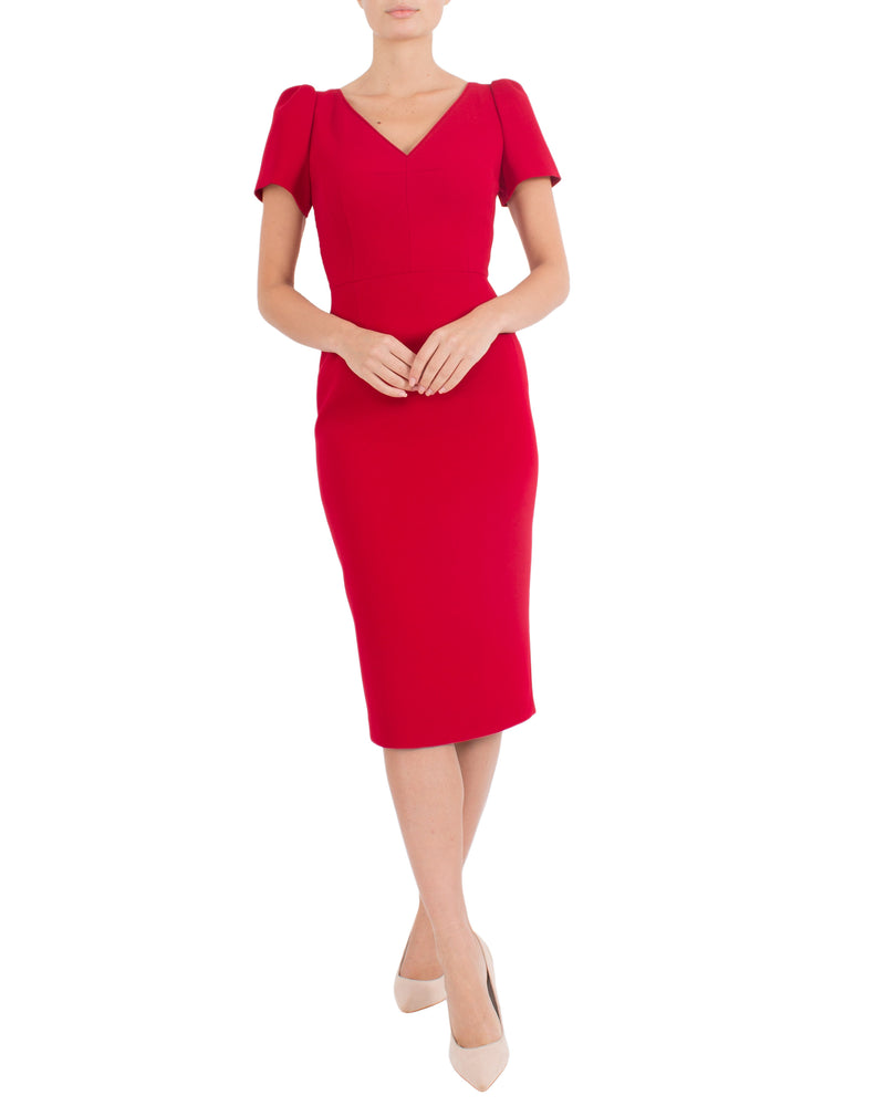 Red Crepe Dress