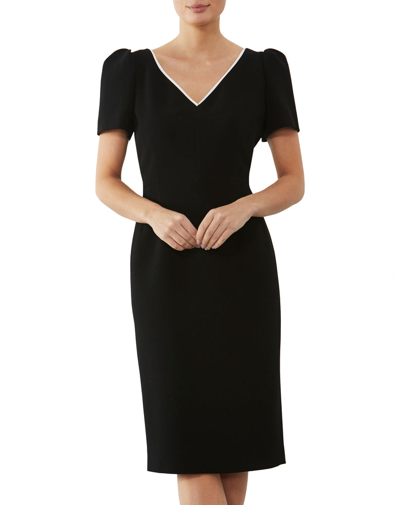 Black & Ivory Crepe Dress