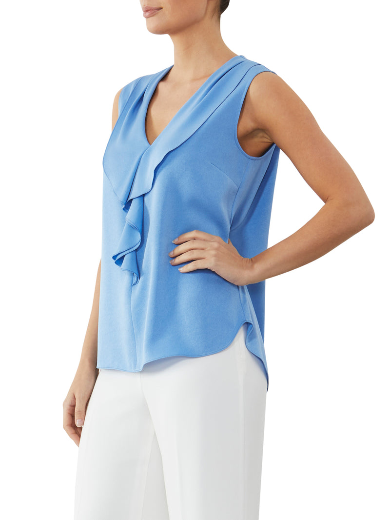 Cornflower Ruffle Front Top