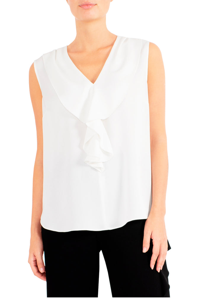 Ivory Ruffle Front Top