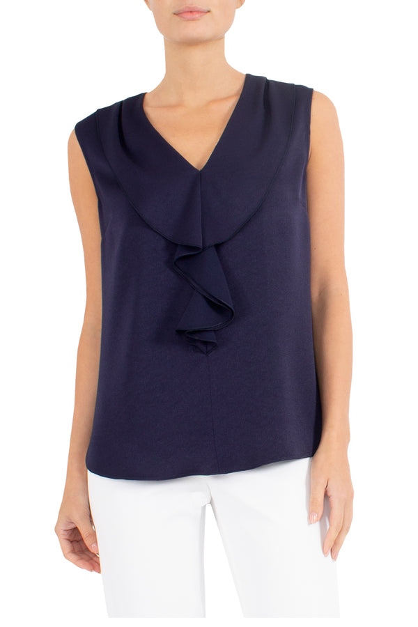 Navy Ruffle Front Top
