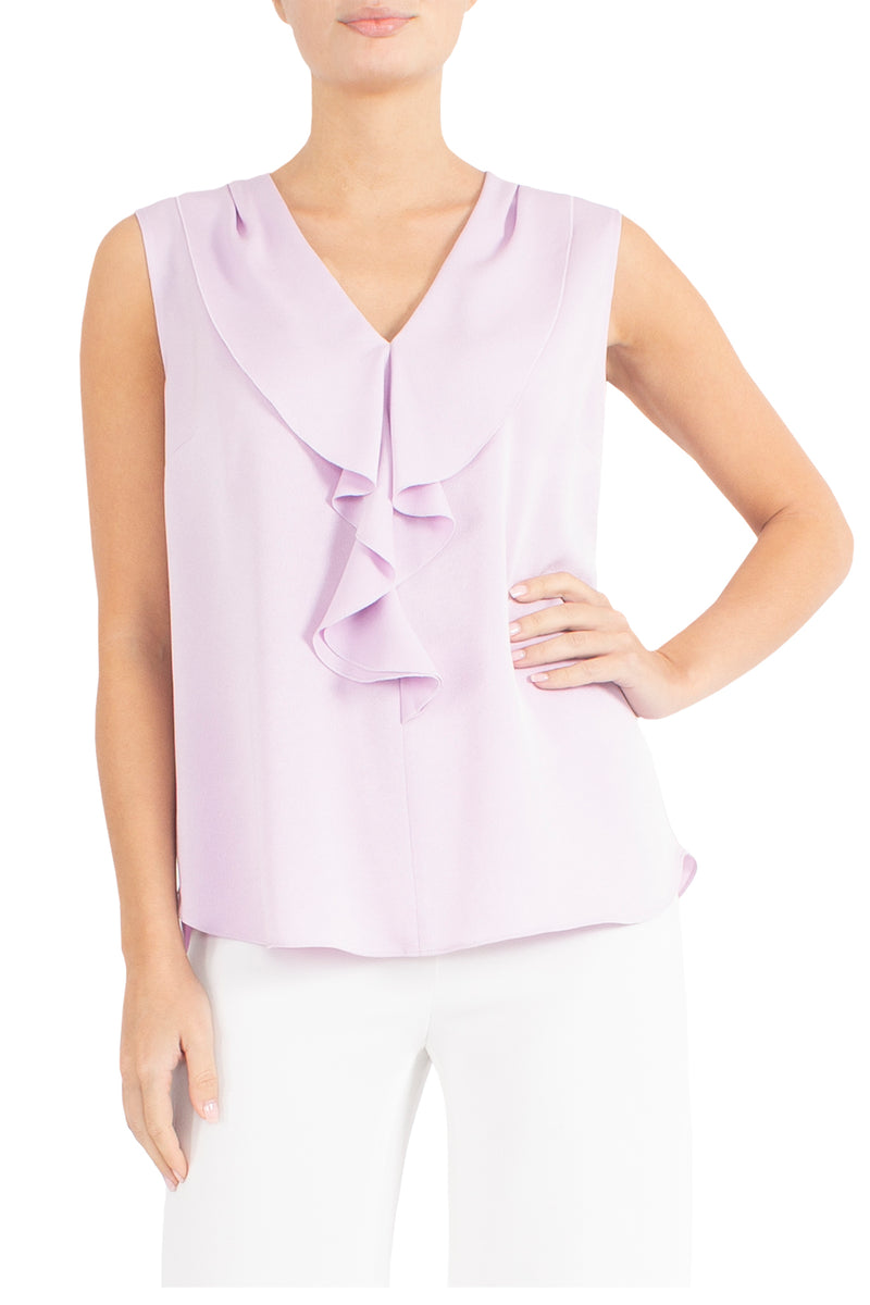 Rose Pink Ruffle Front Top