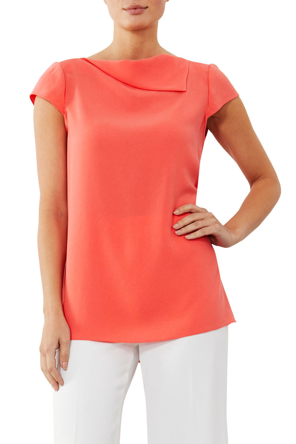 Coral Fold Neck Top