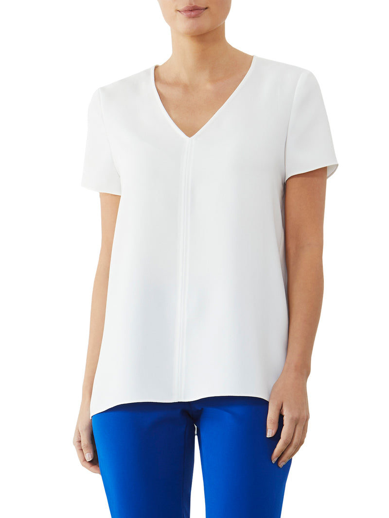 Ivory Crepe V-Neck Top