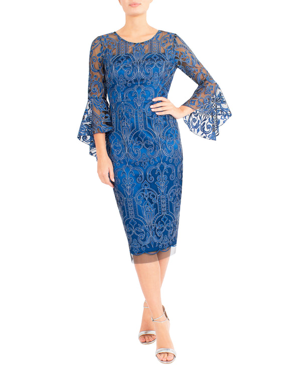 Azure Embroidered Shift Dress