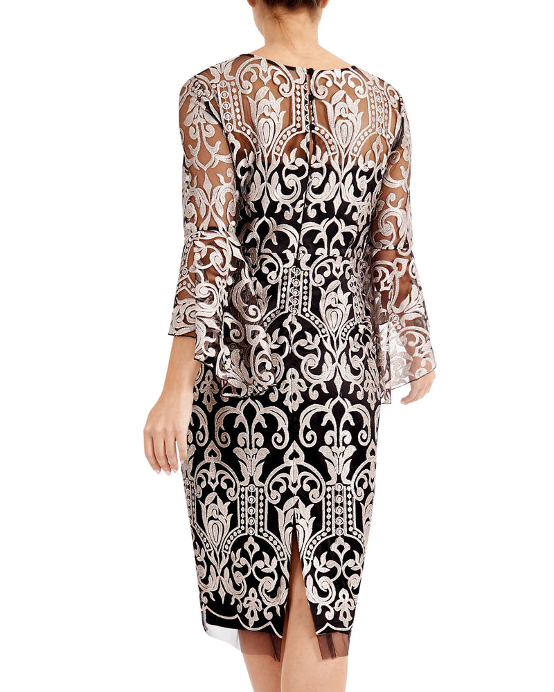 Quartz Embroidered Shift Dress