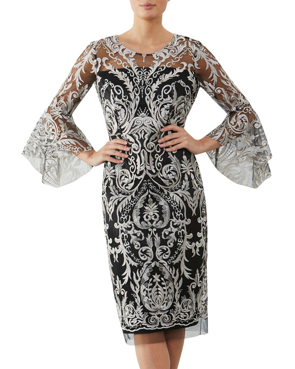 Golden Embroidered Shift Dress