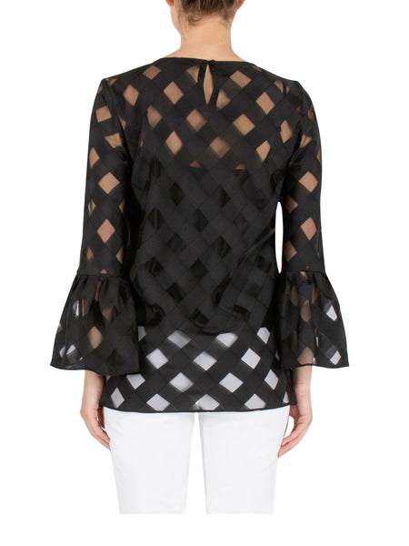 Black Lattice Organza Top