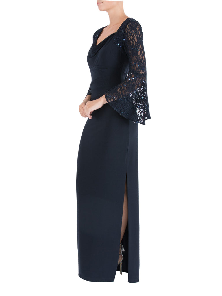 Midnight Draped Sequin Gown