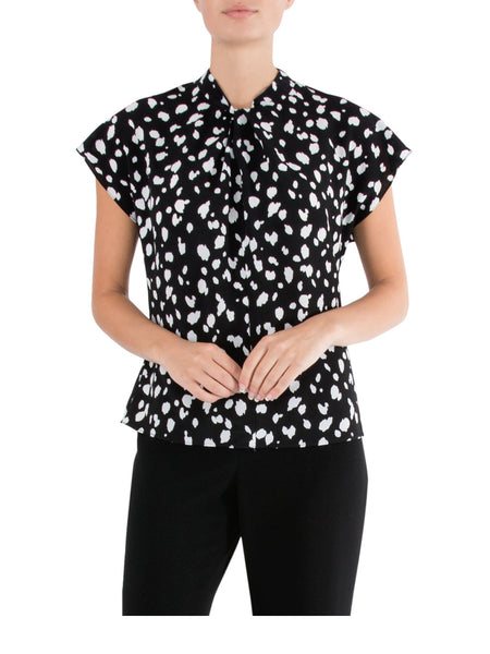 Black & Ivory Twist Neck Top