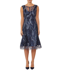 Delphinium Embroidered A-Line Dress