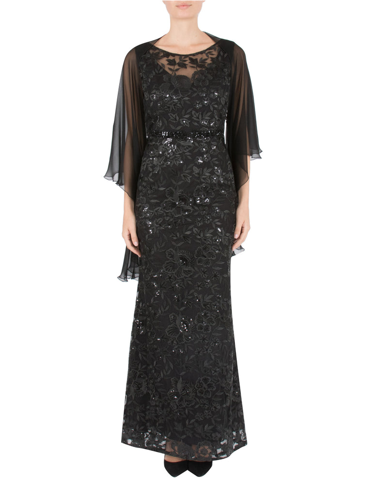 Noir Long Sequin Mesh Dress