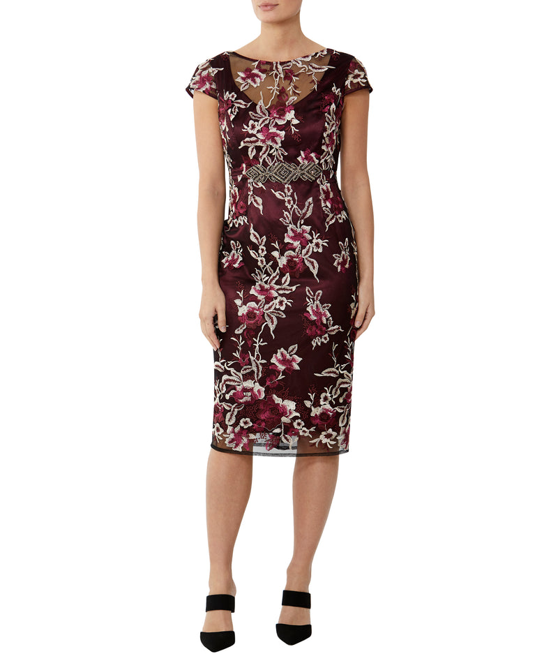 Crimson Embroidered Shift Dress