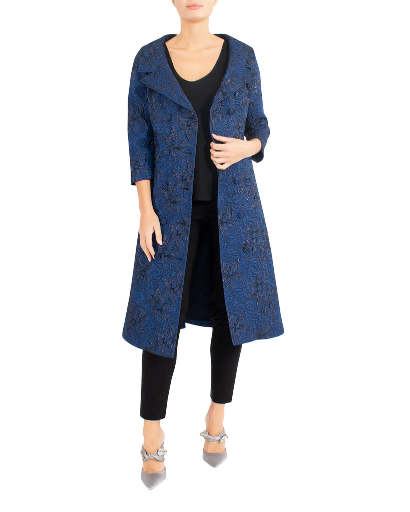 Dark Royal Jacquard Coat