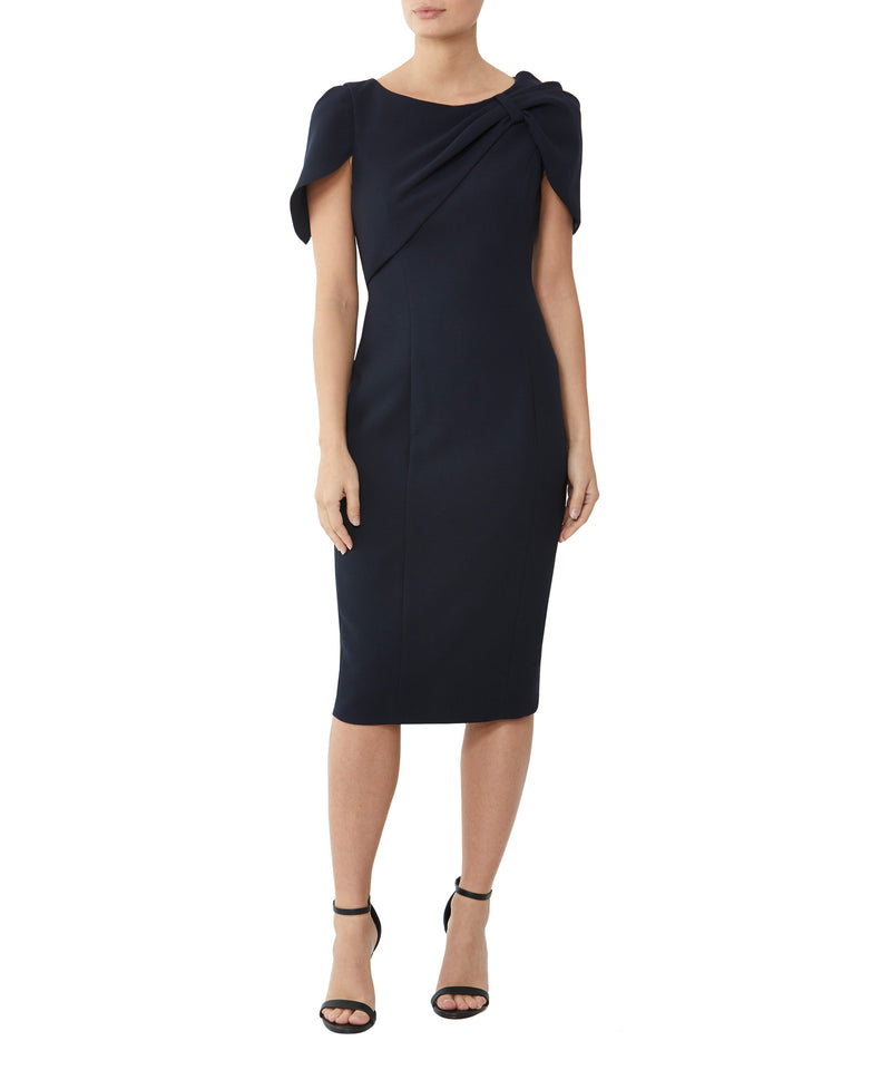 Dark Navy Asymmetric Crepe Dress