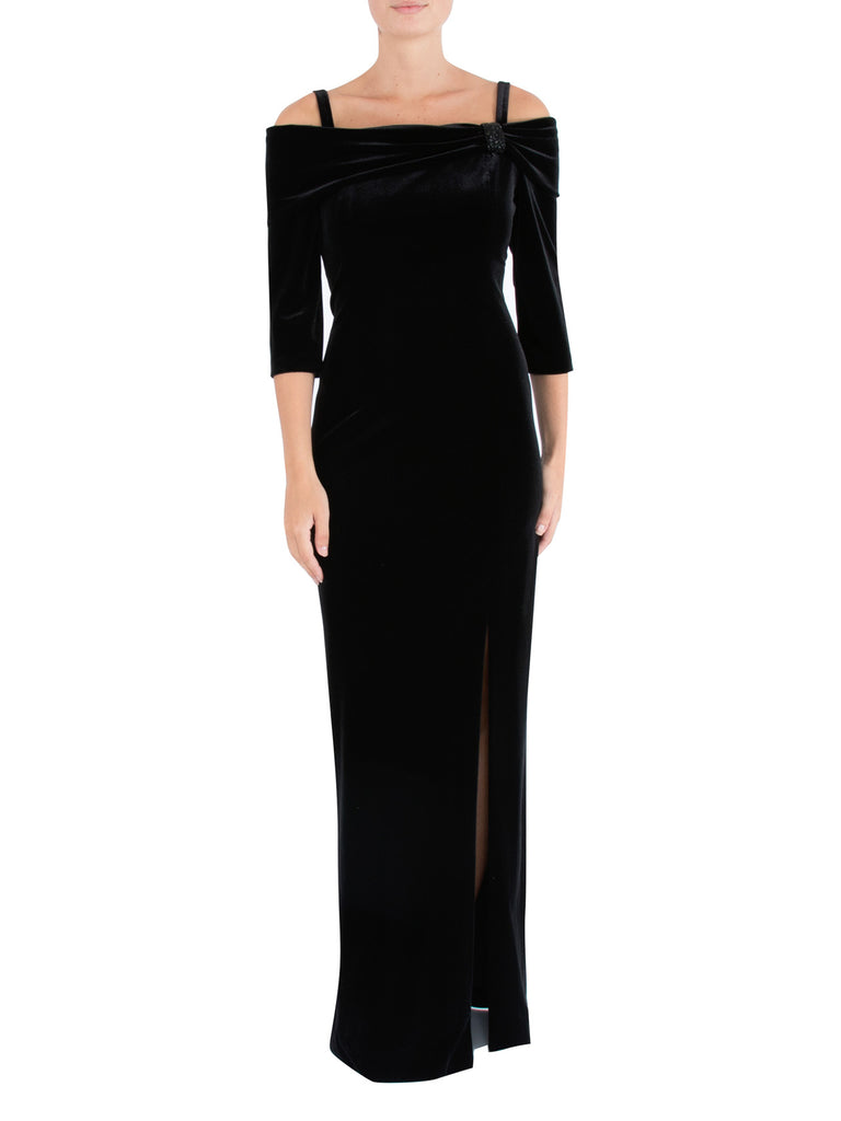 Black Velour Cold Shoulder Gown