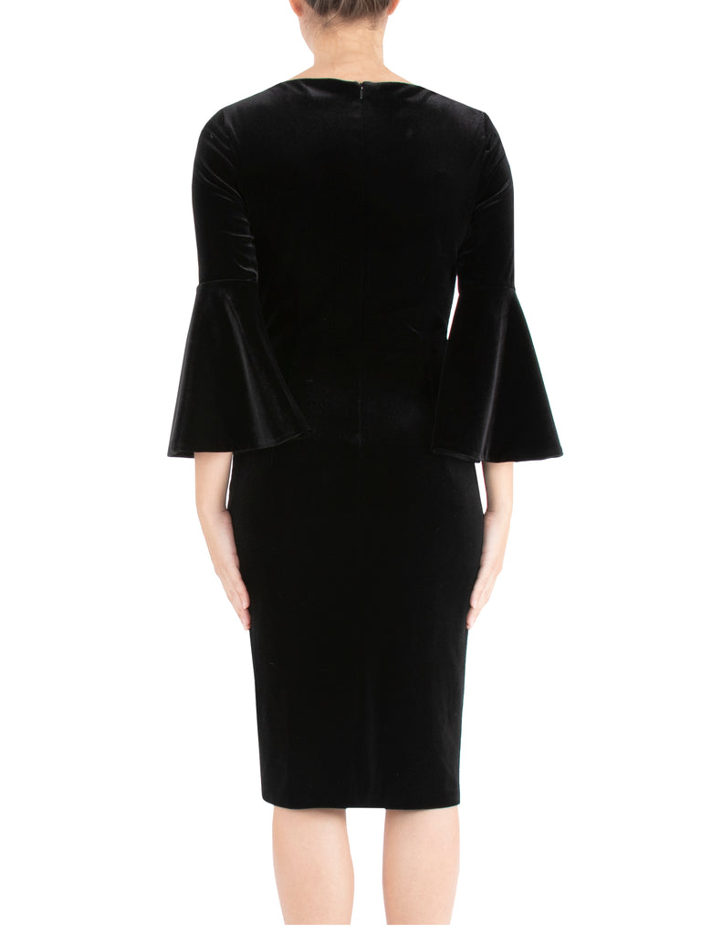 Black Velour Shift Dress