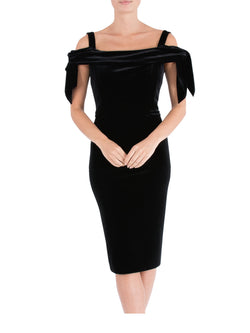 Black Velour Cold Shoulder Dress