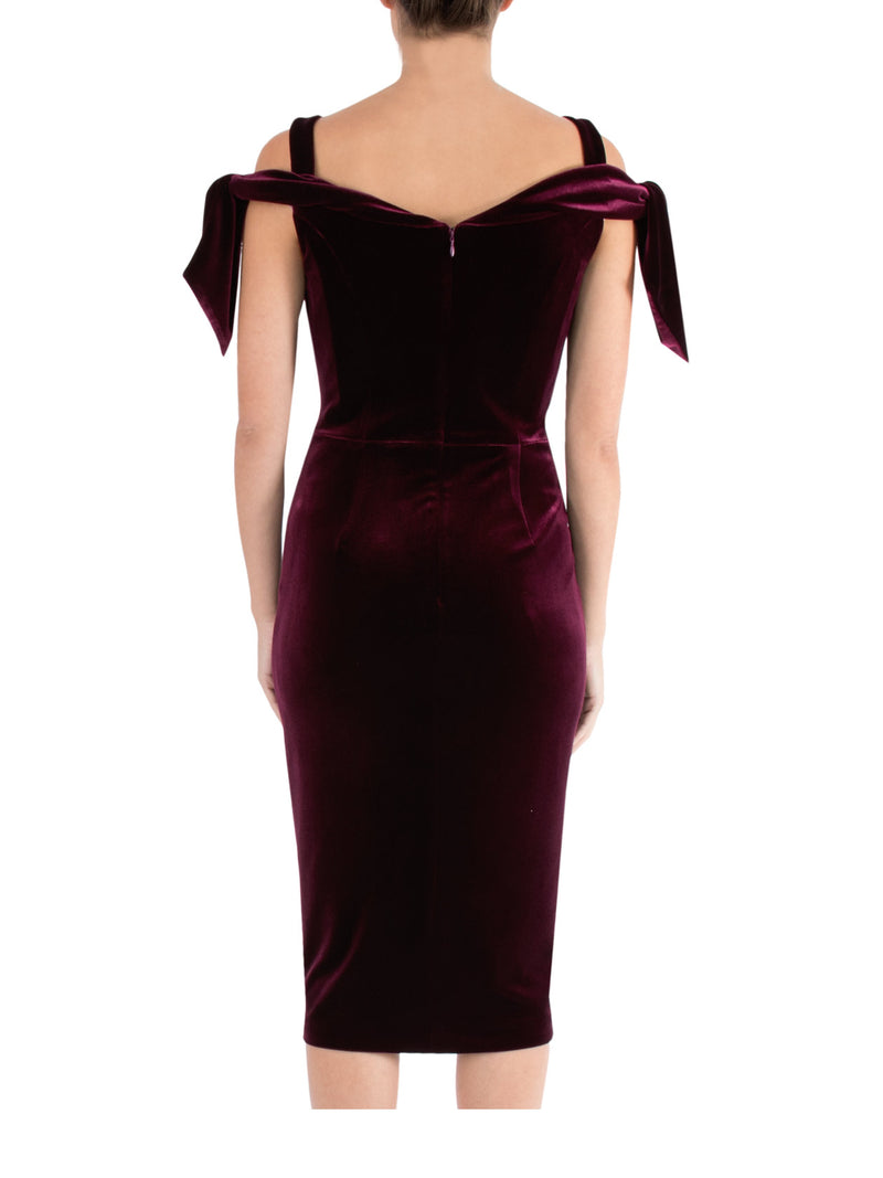 Plum Velour Cold Shoulder Dress