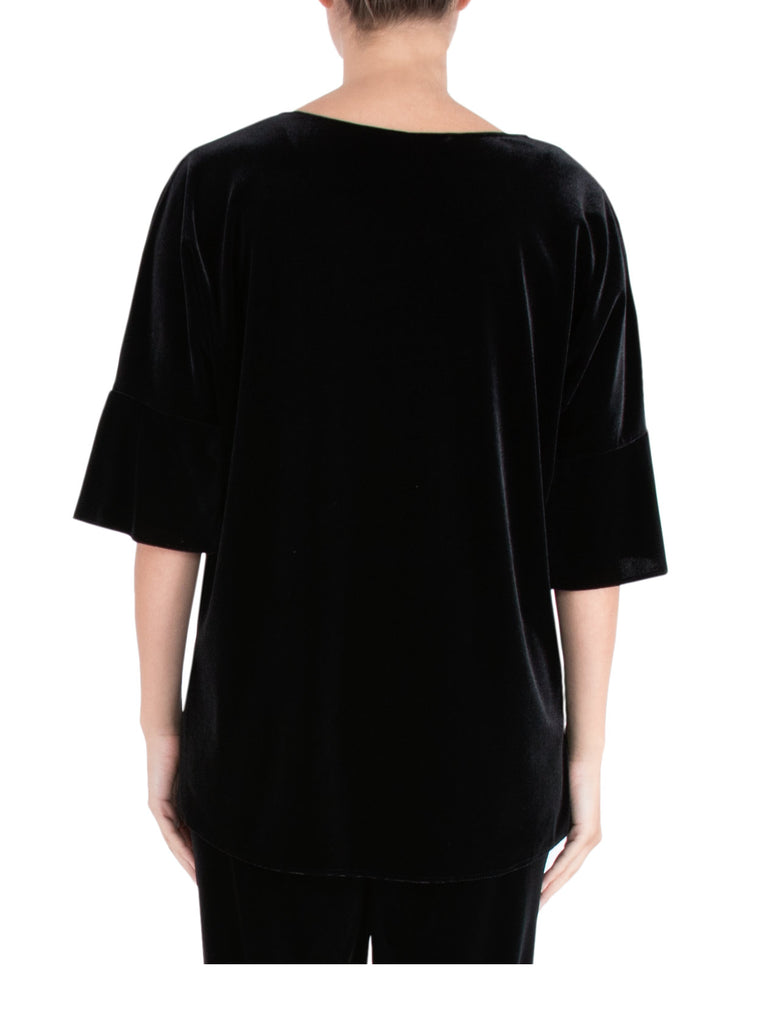 Black Velour Ruffle Sleeve Top