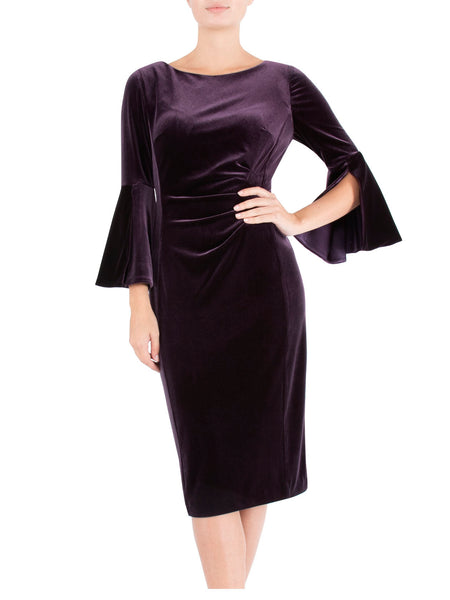 Aubergine Velour Shift Dress