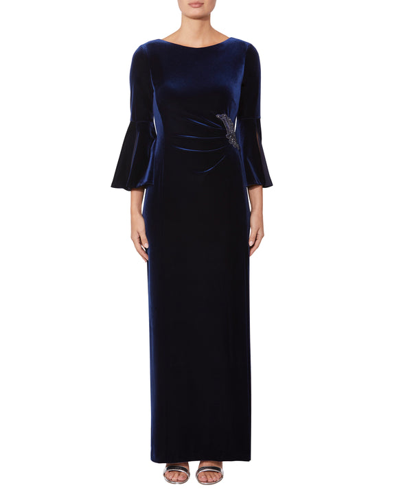 Sapphire Velour Gown
