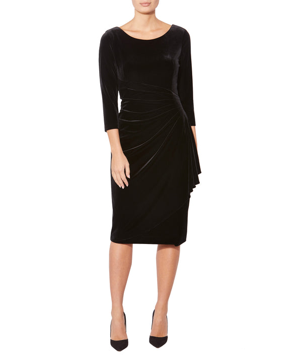Black Velour Cascade Dress